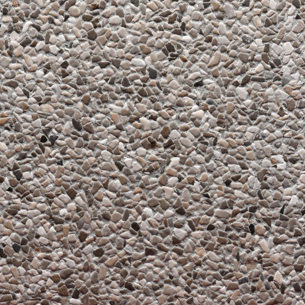 Finitura spazzolata pannelli verticali, graniglia sasso Aviano, fondo grigio