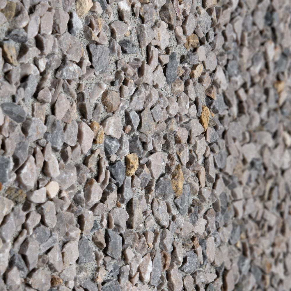 Finitura lavata pannelli verticali, graniglia grigio Occhialino, fondo grigio